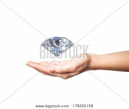 woman hand holding 3d diamond isolated on white background