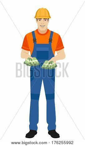 Builder with cash money. Full length portrait of builder in a flat style. Vector illustration.