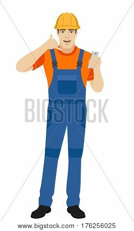 Call me! Builder showing us a call me sign. Full length portrait of builder in a flat style. Vector illustration.