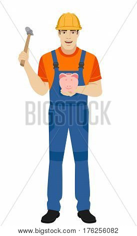 Builder trying to break a piggy bank with a hammer. Full length portrait of builder in a flat style. Vector illustration.