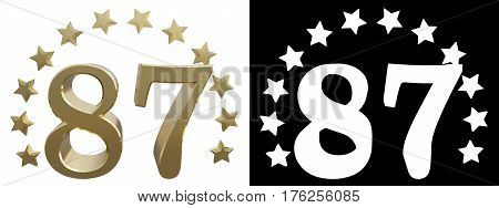 Gold number eighty seven decorated with a circle of stars. 3D illustration