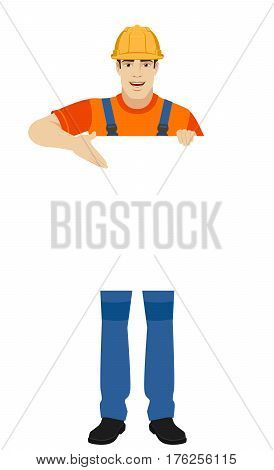 Builder showing at banner over white. Full length portrait of builder in a flat style. Vector illustration.