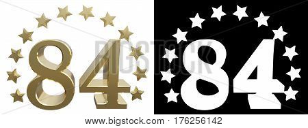 Gold number eighty four decorated with a circle of stars. 3D illustration