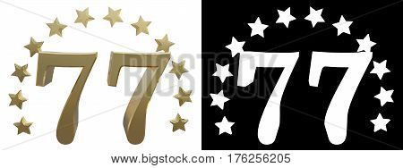 Gold number seventy seven decorated with a circle of stars. 3D illustration
