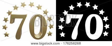 Gold number seventy decorated with a circle of stars. 3D illustration