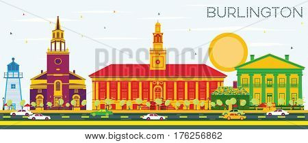 Burlington Skyline with Color Buildings and Blue Sky. Business Travel and Tourism Concept with Historic Architecture. Image for Presentation Banner Placard and Web Site.