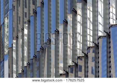 Extreme close up of the glass windows exterior of One World Trade Center in New York