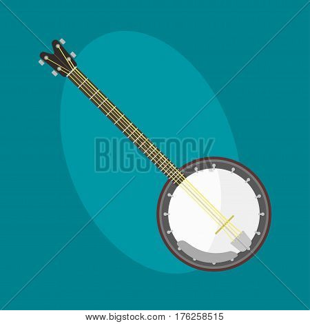 Banjo guitar icon stringed musical instrument classical orchestra art sound tool and acoustic symphony stringed fiddle wooden vector illustration. Vintage performance classic folk rock artistic sign.