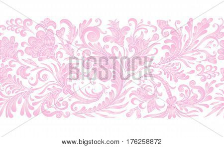 Baroque seamless border with vintage floral ornament. Vector illustration, flower pattern. Delicate pink watercolor imitation