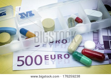 capsules up ticket euro concept of health copay
