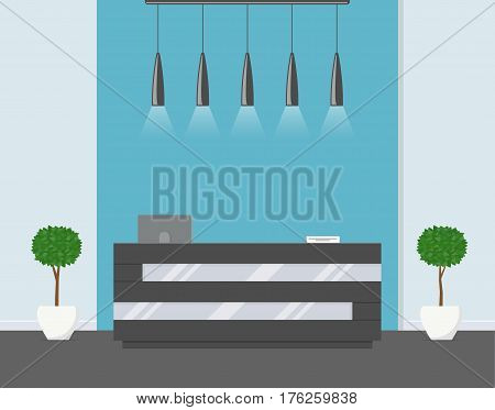 Reception in modern office. Business office, clinic or hotel interior in blue colors with flowers and reception desk. Interior lobby or waiting room inside building. Vector illustration in flat style.