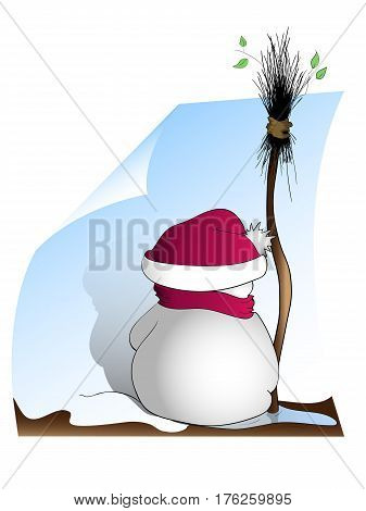 Spring snowman in puddle and broom with shadow on sheet. Vector illustration