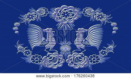Background color sapphire crystal with folk patterns can be used in the design textile printing industry in a variety of design projects.