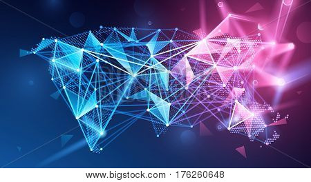 Global network connection. Geometric polygonal map. Vector illustration