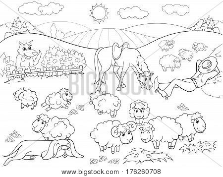 Pasture sheep with a shepherd and dog coloring for children cartoon vector illustration. Zentangle style. Black and white