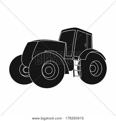 Combine harvesting .Green tractor with large wheels. Agricultural equipment for farmers.Agricultural Machinery single icon in black style vector symbol stock web illustration.