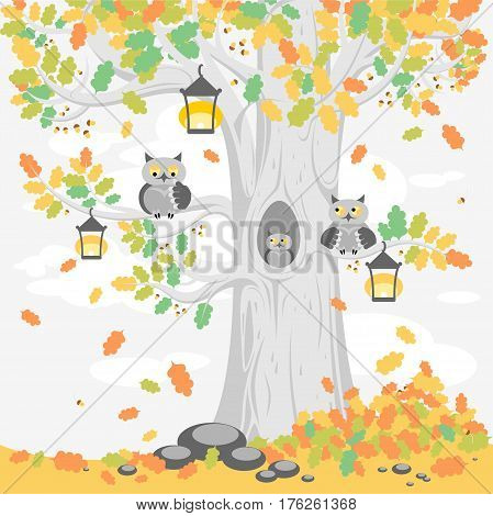 A family of owls on a tree in autumn, cute cartoon characters. Illustration for posters, banners, cards, and other design projects for children