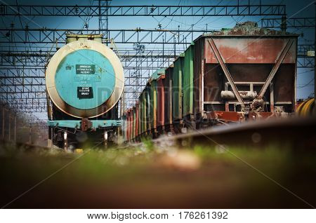 Ukraine. Freight wagons and tank cars on a railway station