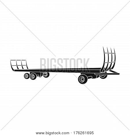 Specialized trailer on wheels for trucks for transportation of hay bales.Agricultural Machinery single icon in black style vector symbol stock web illustration.