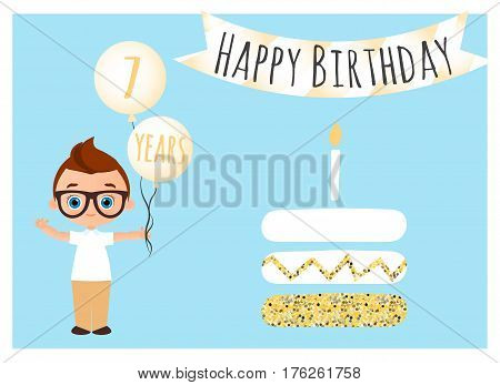 Happy birthday postcard. Happy Birthday background for poster, banner, card, invitation, flyer. Young Boy holds balls with congratulations. Vector illustration eps 10. Flat cartoon style