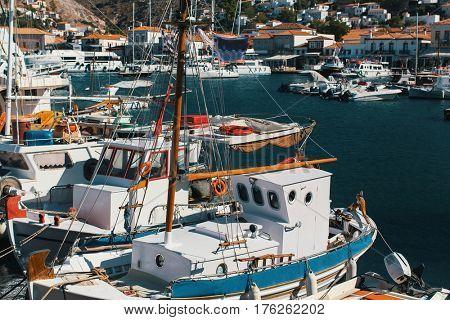 Marina of Hydra island, Aegean sea, Greece.