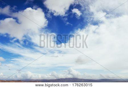 Many Cumulonimbus Cloud Before Raining With Blue Sky