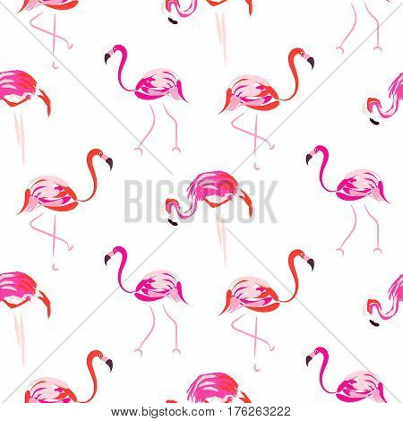 Hand drawn pink flamingo seamless pattern vector. Tropic birds on white with brush strokes and hand painted coral plumage decoration.