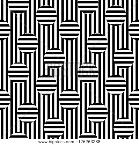 Vector monochrome seamless pattern. Black & white stripes texture. Optical illusion, horizontal and vertical transition. Trendy abstract design, urban pop style. Element for decoration, print, cover, textile, fabric, furniture, web