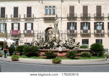 People Walking On Archimede Square At Palermo On Italy