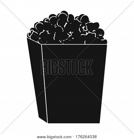 Popcorn in a box. Food for an amusement park and a movie trip.Amusement park single icon in black style vector symbol stock web illustration.