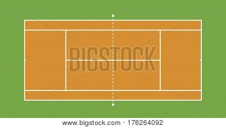 Tennis clay court illustration. Top view, Vector illustration