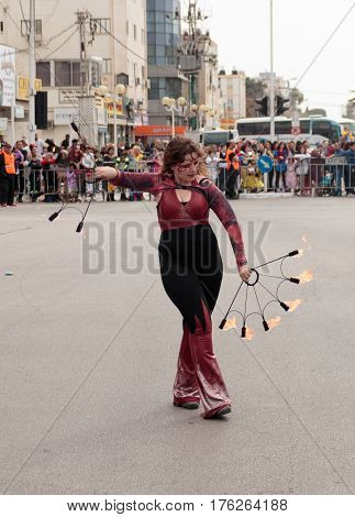 Juggler Shows Her Art For The Viewers On The Street
