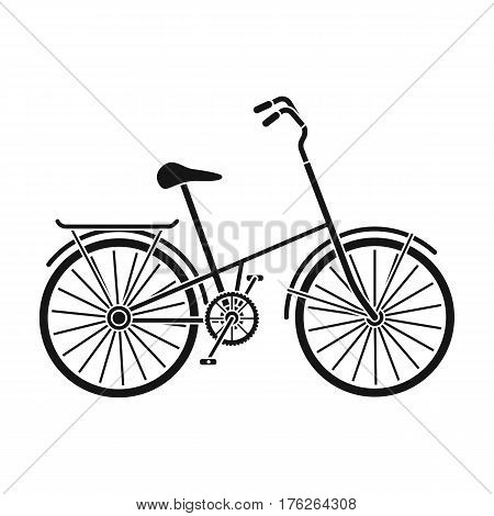 Children s bicycle with low frame and luggage compartment flaps.Different Bicycle single icon in black style vector symbol stock web illustration.