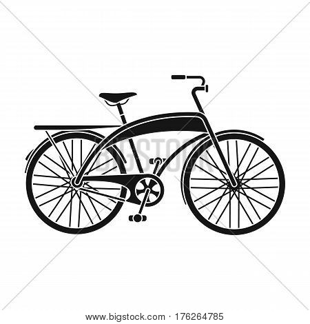 Road bike for walking with a semicircular frame.Different Bicycle single icon in black style vector symbol stock web illustration.