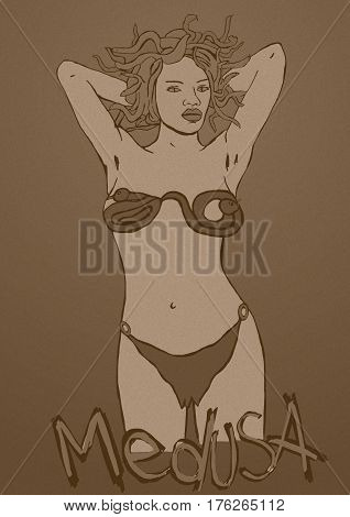 Medusa woman vintage image monster with snakes