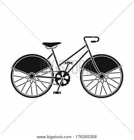 Walking bicycle with large shields and curves driving. Economical transport.Different Bicycle single icon in black style vector symbol stock web illustration.