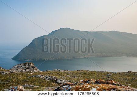 Baikal lake near Khuzhir villahe at Olkhon island in Siberia Russia. Lake Baikal is the largest freshwater lake in the world.
