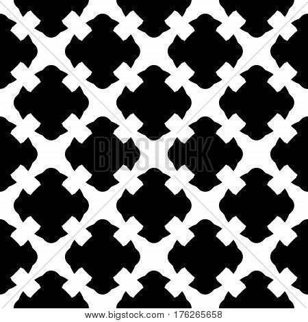 Vector seamless pattern. Simple black & white geometric texture. Endless ornamental background, retro gothic style. Symmetric square abstract backdrop. Repeat tiles. Design element for decoration, textile, fabric, prints, clothes, apparel, furniture