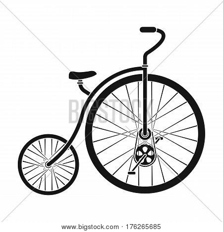 Vintage bicycle. The first bicycle. Huge and small wheel.Different Bicycle single icon in black style vector symbol stock web illustration.