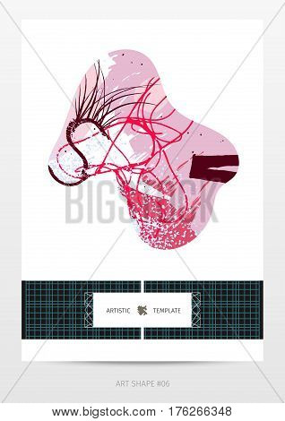 abstract expressive design template in neo-grunge style, hand drawn textures and design elements, popular horizontal web size