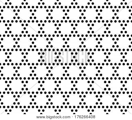 Vector monochrome seamless pattern. Simple geometric texture with small hexagons. Black and white illustration, hexagonal grid. Repeat abstract geometrical background. Light design for decoration, textile, fabric, cloth, furniture, digital, web