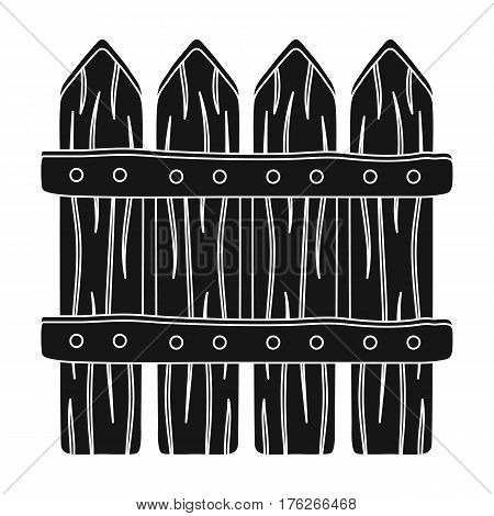 Wooden decorative sectional fence. Fencing for the protection of the garden.Farm and gardening single icon in black style vector symbol stock web illustration.