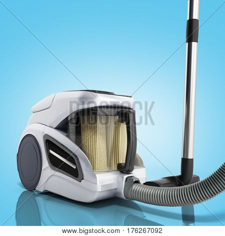 3D Render Of Vacuum Cleaner Isolated On Blue