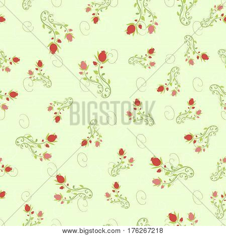 Seamless pattern pomegranate floral vector illustration Fruity, rose