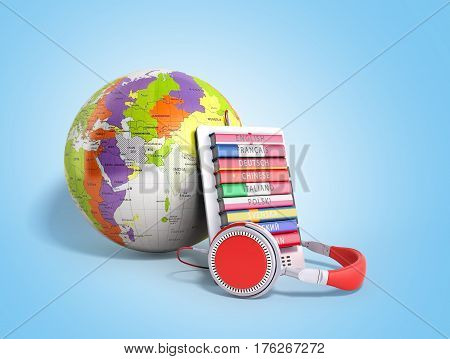 E-boock Whith Globe Audio Learning Languages 3D Render On Blue