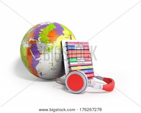 E-boock Whith Globe Audio Learning Languages 3D Render On White