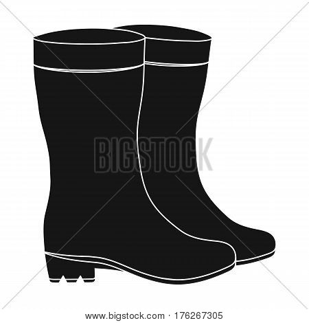 Yellow rubber waterproof boots for women to work in the garden.Farm and gardening single icon in black style vector symbol stock web illustration.