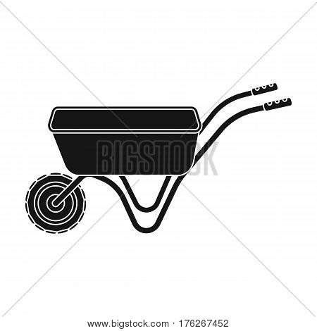 Hand truck with one wheel. Wheelbarrow for the transportation of goods around the garden.Farm and gardening single icon in black style vector symbol stock web illustration.