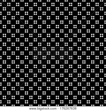 Vector monochrome seamless pattern, simple minimalist background. White perforated crosses on black backdrop, rounded shapes, smooth lines. Modern abstract geometric texture, contemporary design