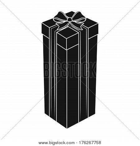 A high gift box, for a high and narrow gift.Gifts and Certificates single icon in black style vector symbol stock web illustration.